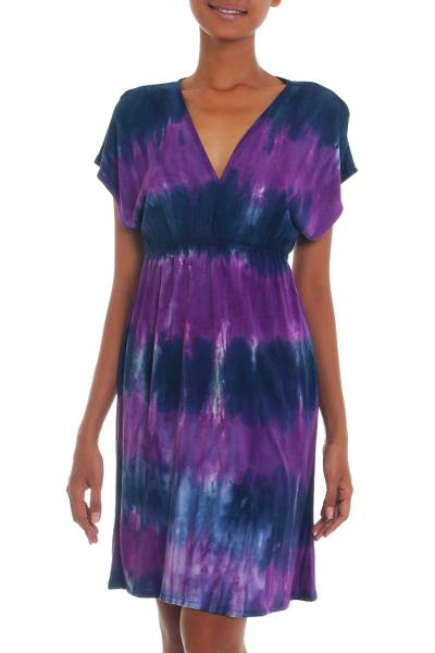 Rayon blend dress, 'Twilight Amlapura' - Mid Length Tie Dyed Rayon Blend Dress in Lilac and Indigo
