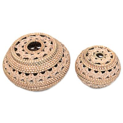 Ate grass baskets, 'Sembalun Harmony' (pair) - Pair of Hand Woven Baskets from Indonesia