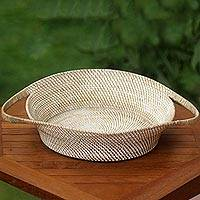 Natural fiber basket, 'Lombok Beauty' - Handwoven Natural Fiber Basket from Lombok Island
