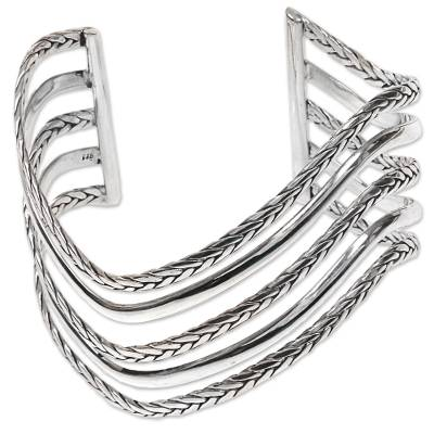 Artisan Crafted Modern Sterling Cuff Bracelet from Bali
