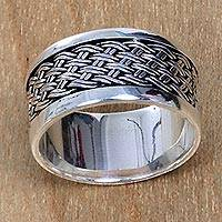 Sterling silver band ring, 'Sukawati Dream Weave' - Artisan Crafted Sterling Silver Band Ring with Woven Motif