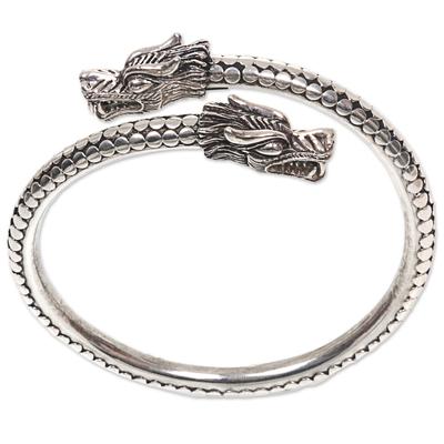 Sterling silver bangle bracelet, 'Dragon Guardians' - Handcrafted Sterling Silver Balinese Dragon Bangle Bracelet