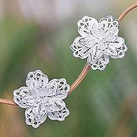 Sterling silver button earrings, 'Filigree Magnolia'