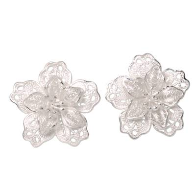 Sterling Silver Filigree Earrings Crafted by Hand in Bali