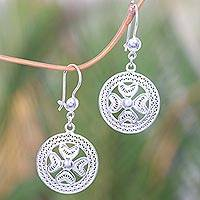 Sterling silver dangle earrings, 'Filigree Heartbeat' - Handcrafted Heart Theme Sterling Silver Filigree Earrings