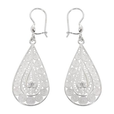 Sterling silver filigree earrings, 'Sukawati Dewdrops' - Balinese Sterling Silver Filigree Earrings Crafted by Hand