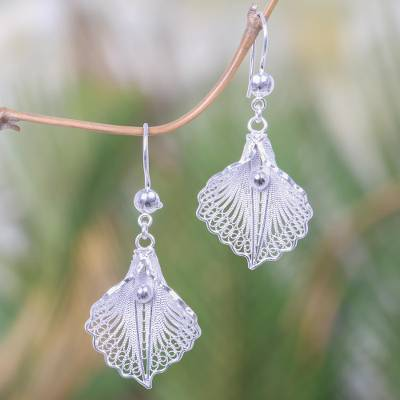 Sterling silver filigree dangle earrings, 'White Mustard' - Handmade Sterling Silver Dangle Earrings with Floral Motif