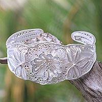 Sterling silver filigree bracelet, 'God's Garden' - Floral Filigree Handcrafted Silver Cuff Bracelet from Bali