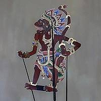 Leather shadow puppet, 'Drawi' - Handcrafted Leather Drawi Wayang Puppet with Base