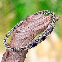 Gold accent amethyst braided bracelet, 'Bedugul Temple' - Handcrafted Bali Gold Accent Silver and Amethyst Bracelet