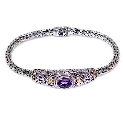 Gold accent amethyst braided bracelet, 'Bedugul Garden' - Handcrafted Balinese Gold Accent Silver Amethyst Bracelet