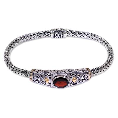 Gold accent garnet braided bracelet, 'Bedugul Garden' - Gold Accent Sterling Silver Artisanal Bracelet with Garnet