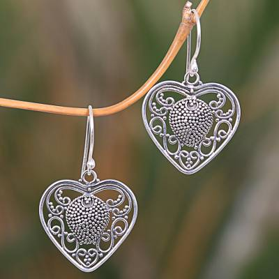 Sterling silver dangle earrings, Center of My Heart