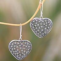 Sterling silver dangle earrings, 'Heart of Coral' - Artisan Crafted Sterling Silver Heart Earrings from Bali