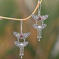 Garnet dangle earrings, 'Balinese Pagoda' - Handcrafted Sterling Silver Balinese Earrings with Garnets