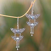 Blue topaz dangle earrings, 'Balinese Pagoda' - Balinese Sterling Silver and Blue Topaz Dangle Earrings