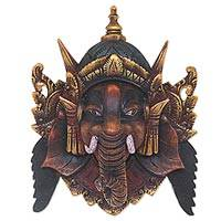 Wood mask, 'Bestower of Happiness' - Artisan Crafted Acacia Wood Mask of Ganesha from Bali