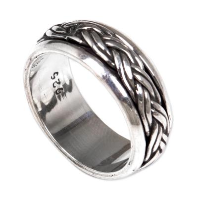 Sterling silver meditation spinner ring, 'Eternal Bond' - Hand Made Sterling Silver Spinner Meditation Ring from Bali