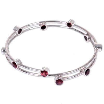 Garnet bangle bracelet, 'Orchid Twist in Red' - Hand Made Sterling Silver Garnet Bracelet Indonesia