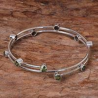 Peridot bangle bracelet, 'Orchid Twist in Green'