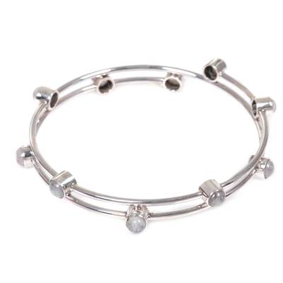 Rainbow moonstone bangle bracelet, 'Orchid Twist in White' - Sterling Silver Rainbow Moonstone Bracelet Indonesia
