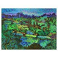 'Landscape at Mas' - Balinese Rice Fields Signed Original Pointillist Painting