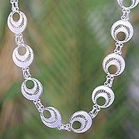 Sterling silver link necklace, 'Filigree Moonlight' - Balinese Handcrafted Silver Filigree Necklace