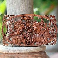 Wood relief panel, 'Drupadi and Yudistira' - Artisan Crafted Suar Wood Wall Relief Panel from Bali