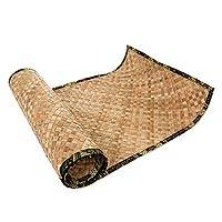 Natural fiber yoga mat with batik bag, 'Olive Forest' - Hand Stamped Cotton Batik and Woven Leaf Yoga Mat Set