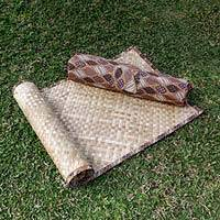 Natural fiber yoga mat with batik bag, 'Jawadwipa I' - Woven Pandan Leaf Yoga Mat with Batik Cotton Bag