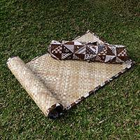 Natural fiber yoga mat with batik bag, 'Nusantara' - Natural Fiber and Cotton Batik Yoga Set with Mat