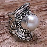 Cultured pearl cocktail ring, 'Dotted Moon'