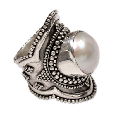 Cultured pearl cocktail ring, 'Dotted Moon' - Handcrafted Cultured Mabe Pearl Cocktail Ring from Bali