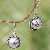 Cultured pearl dangle earrings, 'Night Moon' - Indonesian Hand-Made Cultured Pearl and Silver Earrings
