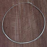 Gold accent sterling silver collar necklace, 'Swirling Vines' - Sterling Silver Gold Accent Collar Necklace from Indonesia