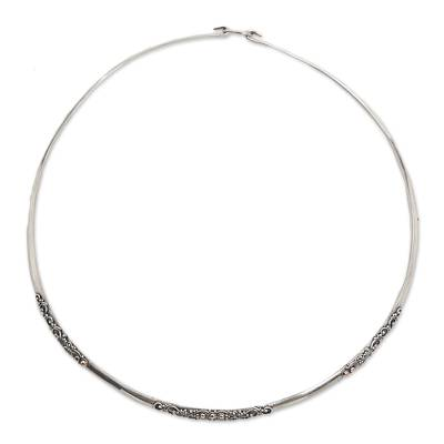 Sterling Silver Gold Accent Collar Necklace from Indonesia