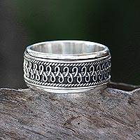 Sterling silver spinner ring, 'Dragon Scale' - Hand Made Sterling Silver Spinner Ring from Indonesia