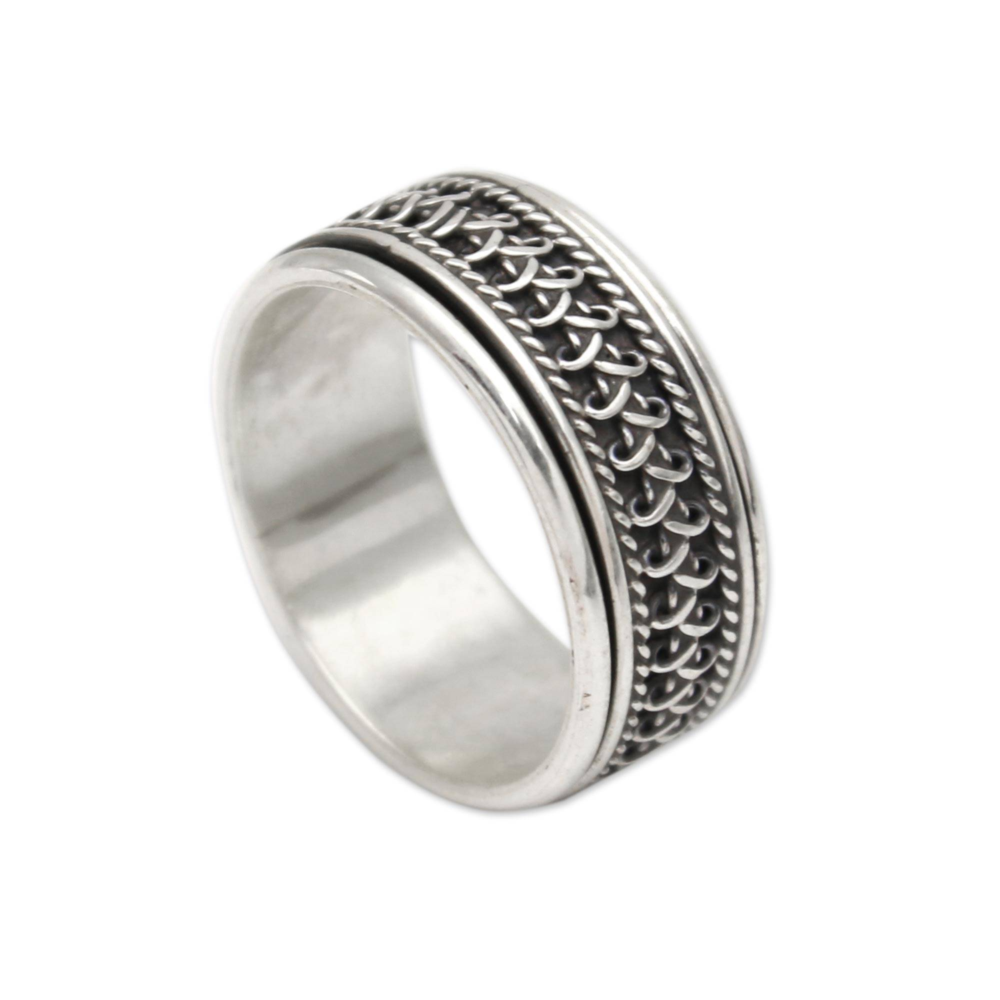 Hand Made Sterling Silver Spinner Ring from Indonesia Dragon