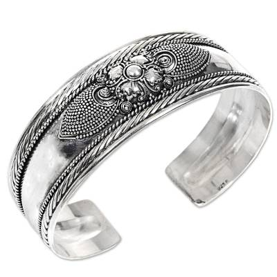 Sterling silver cuff bracelet, 'Elegant Blossom' - Sterling Silver Flower Cuff Bracelet Handmade in Indonesia