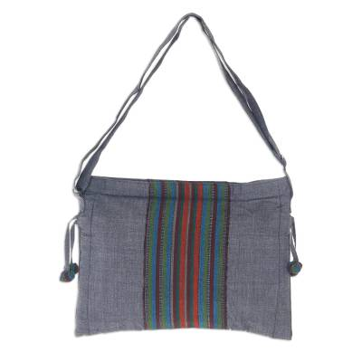 Handmade Multicolor Cotton Sling Bag with Zip Closure