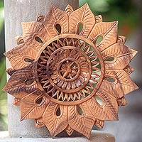 Wood relief panel, 'Morning Blossom' - Hand Carved Suar Wood Floral Wall Relief Panel from Bali