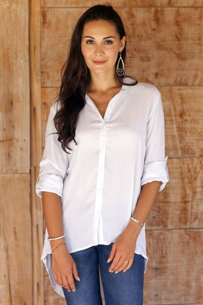 Rayon blouse, 'Beauty in Grey' - Artisan Crafted 100% Rayon Long-Sleeved Blouse with Collar