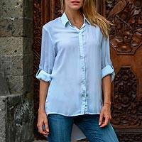 Rayon blouse, 'Mutiara Blue' - Women's Blue Rayon Shirt Blouse with High-Low Hem