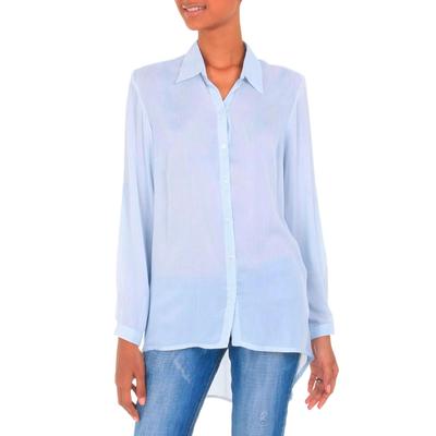 Rayon blouse, 'Mutiara Blue' - Women's Blue Rayon Shirt Blouse with High-Low Hem