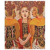 'Gandrung Dancers Dialogue' - Original Signed Oil Painting of Javanese Gandrung Dancers