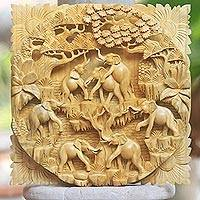 Wood relief panel, 'Elephants at Play' - Balinese Signed and Hand Carved Elephant Relief Panel