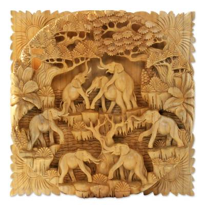 Balinese Signed and Hand Carved Elephant Relief Panel