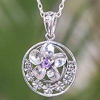 Amethyst pendant necklace, 'Moonlight Plumeria' - Amethyst Flower Necklace Handcrafted of Sterling Silver