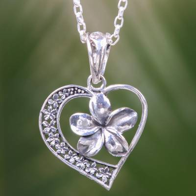Sterling silver pendant necklace, 'Plumeria Heart' - Hearts and Flowers Theme Balinese Sterling Silver Necklace