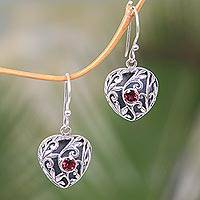 Garnet dangle earrings, 'Heart in the Forest' - Sterling Silver Heart Earrings with Passionate Red Garnets